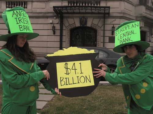 On the Eve of St. Patrick's Day, Leprechauns Descend on Irish Embassy Calling for Irish Debt Relief